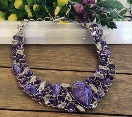 Charoite, Moonstone, Amethyst, Silver, Necklace
